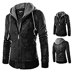 OverDose Men's Hoodies Casual Hooded Cotton+PU Leather Zipper Hoody Outwear Jacket