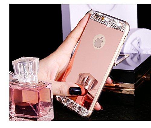 iPhone 6S Tpu Handyhülle,iPhone 6 Silikon hülle,JAWSEU Kreative Gradient Color 360°Schutz Durchsichtig Weich Gel Ultradünn Case Etui Transparent Clear Slim Fit Flexibel Rubber Fall Tasche Schutzhülle  Rose Gold,Strass
