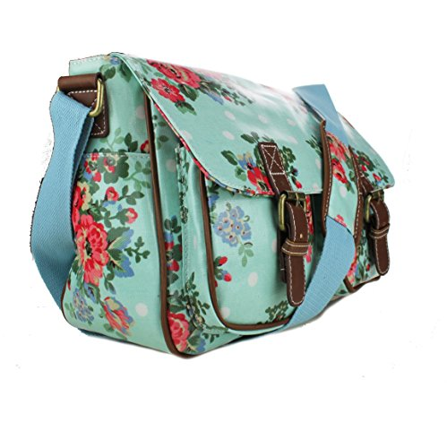 Miss Lulu , Damen Schultertasche Medium Flower Light Blue