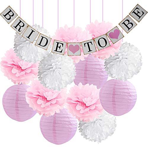 ower Dekorationen Kit-Braut, Banner Pink und WhiteTissue Papier Blume Pom Poms Laternen Latex Ballons für Rosa Hochzeit Party Decor/Bachelorette Party Supplies ()