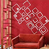 BEST DECOR 24 Square Silver(Pack Of 24)Acrylic Sticker, 3D Acrylic Sticker, 3D Mirror, 3D Acrylic Wall Sticker, 3D Acrylic Stickers For Wall, 3D Acrylic Mirror Stickers For Living Room, Bedroom, Kids Room, 3D Acrylic Mural For Home & Offices Dé