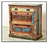 SalesFever Schuh-Schrank in Handarbeit aus Alt-Holz hergestellt mit 2 Klappen und 1 Schublade 85x40x90 cm | Rivership | Bunte Schuh-Kommode lackiert mit starken Gebrauchsspuren im Shabby Chic-Look