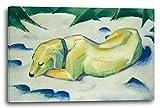 Franz Marc - Liegender Hund im Schnee (1910–11), 80 x 60 cm (weitere Größen verfügbar), Leinwand auf Keilrahmen gespannt und fertig zum Aufhängen, hochwertiger Kunstdruck aus deutscher Produktion (Alte Meister bis Moderne Kunst). Stil: Abstrakte Malerei, Abstrakte Kunst, Expressionismus