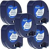 Lot de 5 Ruban Cassette Compatible avec Dymo Letratag 91201 S0721610 Plastique Noir sur Blanc 12mm x 4m pour Dymo LetraTag LT-100H LT-100T LT-110T QX 50 XR XM 2000 Plus