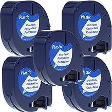 5 x Cintas Cassette Cintas de Etiquetas Compatibles con Dymo LetraTag 91201 S0721610 Plastico Negro sobre Blanco 12mm x 4m para Dymo LetraTag LT-100H LT-100T LT-110T QX 50 XR XM 2000 Plus