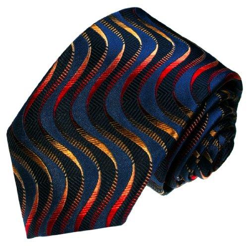 LORENZO CANA - Marken Seidenkrawatte aus 100% Seide - blau orange rot ocker Wellen Krawatte - 36045