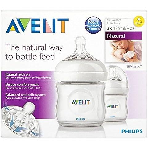 Avent Natural Botella 1 Orificio 0Mth + 125ml (2) (Paquete de 2)