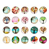 PandaHall 200 Stück Gemischte Farbe Bunt Runde Mosaik Kuppel Glas cabochons, Größe 12x4 mm