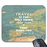 Travel only Thing Print on World Map Mouse Pads 9 x 7.5inch