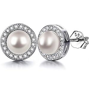 Lydreewam Ohrringe Perlen Damen 925 Sterling Silber Zirkonia mit 3A 6mm Natürliche Süßwasser Perle Ohrstecker