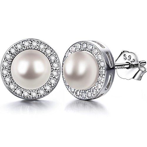 J.SHINE Ohrringe Perlen Damen 925 Sterling Silber Zirkonia mit 3A 6mm Natürliche Süßwasser Perle Ohrstecker