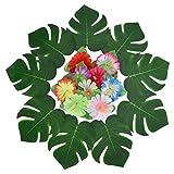 Pangda 32 Stücke Simulation Hibiskus Tropische Blätter für hawaiianische Luau Dschungel Party Dekoration - 3
