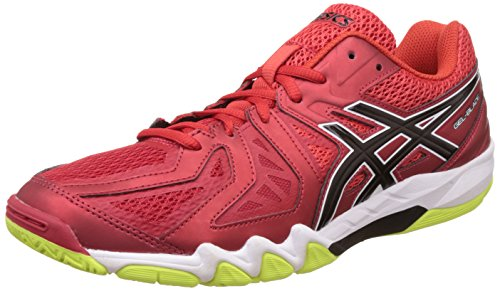 Asics Men's Gel-Blade 5 Vermilion, Black and Safety Yellow Badminton Shoes - 8 UK/India (42.5 EU)(9 US)