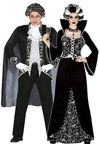 erren Paar Schwarz/Weiß Königsblau Vampir Halloween Kostüm Verkleidung Outfit - Schwarz, UK 10-12 - Mens Large ()