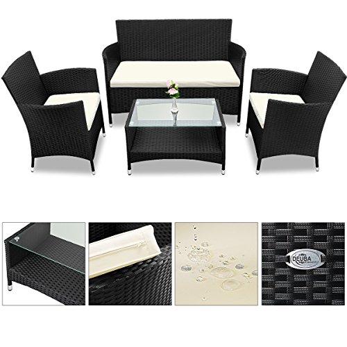 Deuba® Poly Rattan 4+1 Sitzgruppe Schwarz | 7cm dicke Sitzauflagen creme| 2 Sessel + 1 Bank | Tisch mit Glasplatte | Für Drinnen & Draußen [ Modellauswahl ] - Sitzgarnitur Lounge Sitzgruppe Gartenmöbel Gartenlounge Set