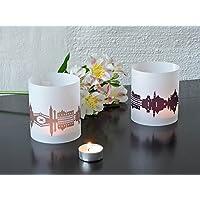 VENEDIG Skyline Stadt Windlicht, Tischlicht personalisierbar, 2er Set Lichthülle Teelicht Tischdekoration in greige & pflaume, Geschenkidee Mitbringsel für Venedig-Fans von 44spaces