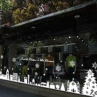 UniqueBella Decoración Navidad Pegatina Calcomanía de Ventana Vidrio Pared Puerta Vinilos Decorativos Autoadhesivo para Escaparate Tienda Hogar Moderno Copos de Nieve