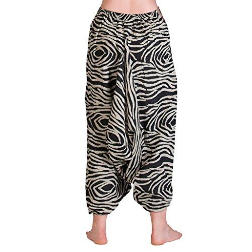 Panasiam© Aladin Pants, aus naturbelassener Baumwolle, echte Handarbeit, passt S- L Zebra