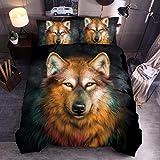 LJJYF Man Bettwäsche-Sets Schlafzimmer,3D Bettwäsche Set, Tier Wolf Tiger Lion Leopard, Bettbezug und Kissenbezug, Einzel, Doppel, Groß, Extra Groß-A6_260 * 230cm (3pcs)