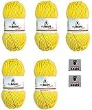 Myboshi No. 1, Merino-Wolle Mix im 5er Set Vorteilspack, Löwenzahn (Fb.-Nr.:113) Handstrickgarn, Häkelgarn, Mützenwolle zum Häkeln und Stricken, inkl. 2 myboshi Label