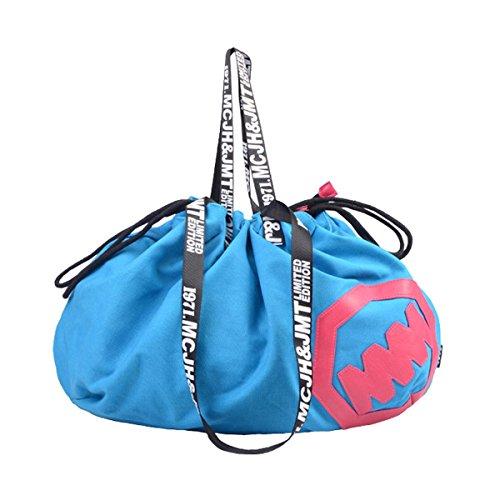 Frauen einfache Art Vintage Leinwand Umhängetasche Hobo Schultertasche Totes Handtasche Blau