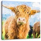 Niedlicher Blick einer Kuh an der Weide Kunst Pinsel Effekt, Format: 60x60 auf Leinwand, XXL riesige Bilder fertig gerahmt mit Keilrahmen, Kunstdruck auf Wandbild mit Rahmen, günstiger als Gemälde oder Ölbild, kein Poster oder Plakat