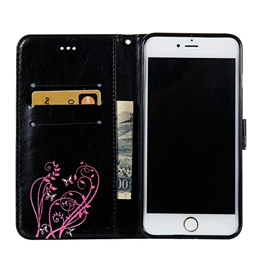 Custodia iPhone 6, iPhone 6S Flip Case Leather, SainCat Custodia in Pelle Cover per iPhone 6/6S, Bling Glitter Anti-Scratch Book Style Protettiva Caso PU Leather Flip Portafoglio Custodia Libro Protet Nero