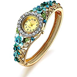 Oven Moda Women Gold Plated Blue Jewellery Bangle Bracelet Quartz Analog Bangle Wrist Watch for Mother,Girlfriend,Friendship Perimeter:20.5cm