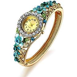 Oven Moda Women Gold Plated Blue Jewellery Bangle Bracelet Quartz Analog Bangle Wrist Watch for Mother,Girlfriend,Friendship Perimeter:20.5cm