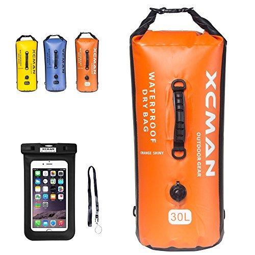 XCMAN Wasserdichter Sack, Trockensack für Boot, Camping und Kajak, 30 l,mit Luftventil und doppelten Schultergurten, 30L SHINY ORANGE