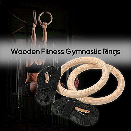 Hykis NEU Holz Gymnastik Ringe Holz 32mm Übung Fitness Gymnastik Ringe Gym Pull Ups Muscle UPS Schnalle Gurt Home Workout -
