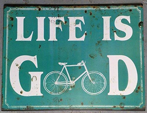 blechschild-schild-dekoschild-zitat-life-is-good-fahrrad-retro-antikstil-33x25cm