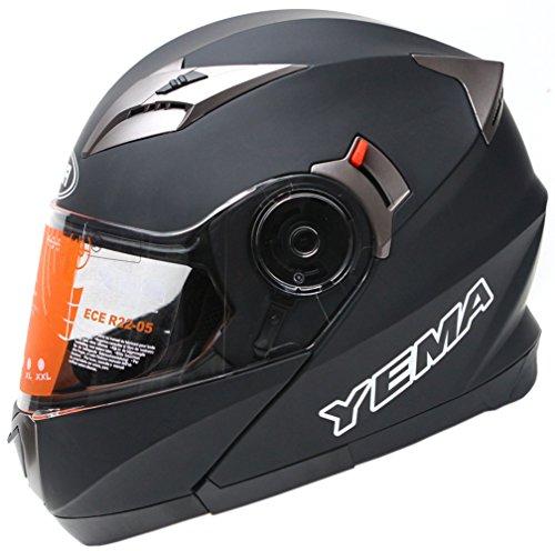 *YEMA YM-925 Motorradhelm Klapphelm mit Doppelvisier-Schwarz Matt-S*