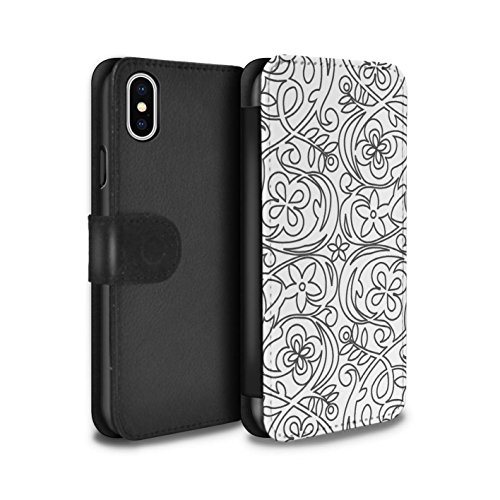 Stuff4 Coque/Etui/Housse Cuir PU Case/Cover pour Apple iPhone X/10 / Formes Abstraites Design / Mode Noir Collection Croquis Fleurs