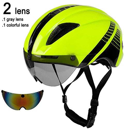 LIUDATOU Occhiali magnetici Lenti Casco da Bicicletta Road Mountain MTB in-Mold Casco da Ciclista da Corsa Speed-Trial Casco da Bici, Green Black 2 Lent