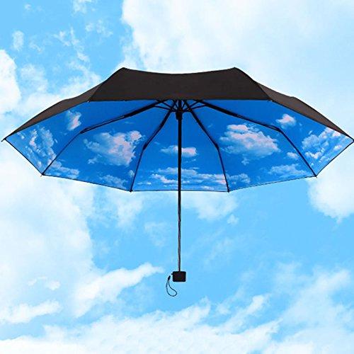 Lamdoo Paraguas azul cielo 3 sombrillas plegables de lluvia paraguas super anti UV protección solar paraguas azul cielo 3 sombrillas plegables de lluvia paraguas