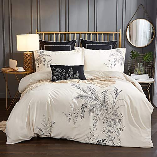 NUBAO Bettwäsche, Doppelbett, Bettwäsche Premium Bambus Blätter,  Luxuriös Weich Und Komfortabel 4  100% Bambusviskose Geeignet Für 180-200cm Doppelbett Königin-Weiß -