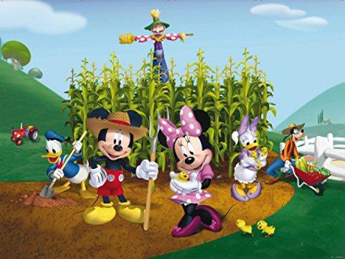 1art1 78240 Micky Maus - Minni Maus, Donald Duck Und Freunde, Gartenarbeit, 4-Teilig Fototapete Poster-Tapete 360 x 255 cm