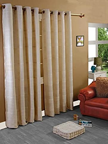 Homescapes 1 Pair of Rajput Ribbed Curtains Natural, 54 Inch Drop, 100% Cotton Ring Top, 66 x 54 Inches