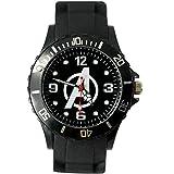taport Vengadores cuarzo redondo reloj deportivo banda de silicona negro + Batería de repuesto libre + libre bolsa de regalo