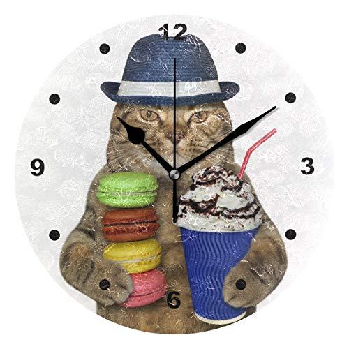 SUNOP Uhr für Kinder, mit Öldruck, 1 Katze im Hut, Wanduhren für Wohnzimmer, Schlafzimmer und Küche, Vintage-Stil