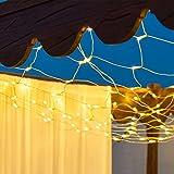Xmas King Solar-Lichternetz 1 x h 2 m, 120 LEDs warmweiß, Transparentes Kabel, erweiterbar