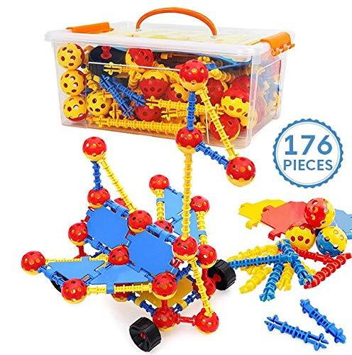 Smarkids Gebäude Spielzeug Für Kinder 176pcs, Bausteine Für Kinder, Pädagogisches Lernen Bauspielzeug Baukästen Spielzeug Blöcke Weihnachten Kinder Spielzeug Geschenk Für Jungen Mädchen (8 Rädern)