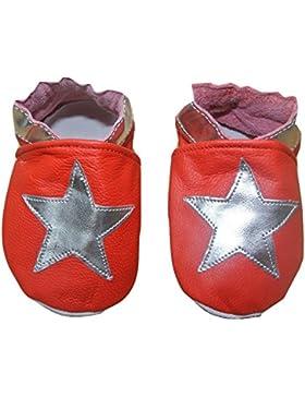 weiche Leder Baby Schuhe Rot mit Silber Sternen