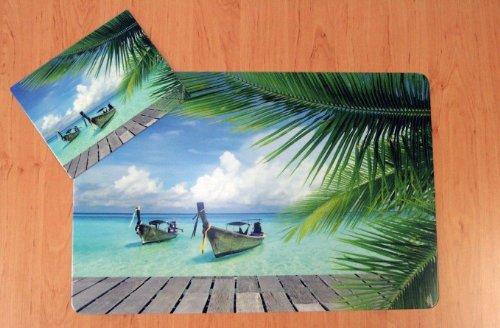 Schreibtischunterlagen Set Karibik mit Mousepad / Strand / Palme / Meer