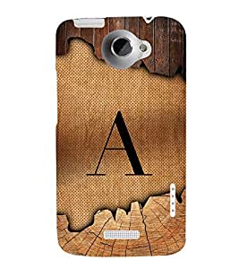 Initial A Wooden Texture 3D Hard Polycarbonate Designer Back Case Cover for HTC One X