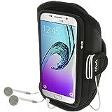 igadgitz Noir Brassard Sports Résistant à L'eau pour Samsung Galaxy A5 SM-A510 2016 Armband Jogging Salle de Gym
