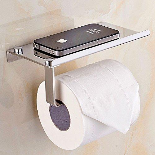 Yizhet Toilettenpapierhalter Rollenhalter zur Wandmontage Klopapierhalter WC Papierhalter mit Handyhalter aus Edelstahl (Bad Papierhalter)