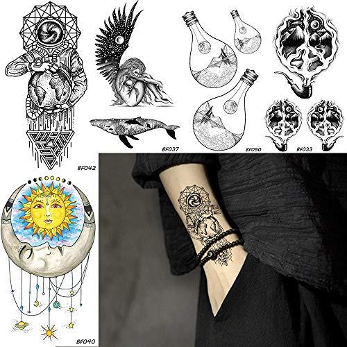 too-Aufkleber Männer Galaxy Stars Astronaut Temporäre Tattoo Birne Rohr Wasserdicht Gefälschten Schmuck Tatoos Black Art Arm Tattoo Aufkleber ()
