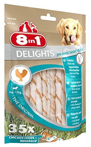 8in1 Delights Pro Dental Twisted Sticks (funktionaler und gesunder Kausnack, hochwertiges gedrehtes Hähnchenfleisch, Mineralien zur effektiven Plaqueentfernung bei Hunden), 35 Stück (190 g Beutel) - 3